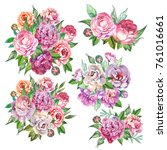 set of flowers bouquets... | Shutterstock . vector #761016661
