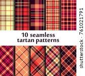 set of seamless tartan patterns | Shutterstock .eps vector #761021791