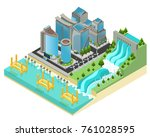 isometric eco city template... | Shutterstock .eps vector #761028595