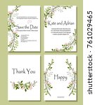 set of botanical vector cards.... | Shutterstock .eps vector #761029465