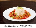 Pork meat and vegetables and pineapple with japanese rice - stock photo