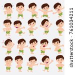 cartoon character white boy in... | Shutterstock .eps vector #761034211