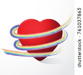 valentines day vector. 3d red... | Shutterstock .eps vector #761037865
