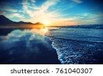 beach sunset with endless... | Shutterstock . vector #761040307