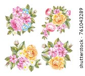 vintage set of roses garland.... | Shutterstock . vector #761043289