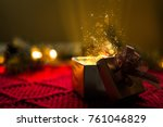 christmas gift with gold... | Shutterstock . vector #761046829