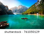 amazing view of braies lake... | Shutterstock . vector #761050129