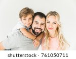 happy young  family with one... | Shutterstock . vector #761050711