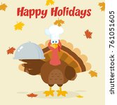 turkey chef cartoon mascot...   Shutterstock . vector #761051605
