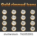 kitchen gold rimmed icons for... | Shutterstock .eps vector #761052001