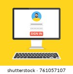 sign in page on computer...   Shutterstock .eps vector #761057107