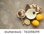 ginger tea and its ingredients  ... | Shutterstock . vector #761058295