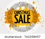 christmas sale words cloud ... | Shutterstock . vector #761058457