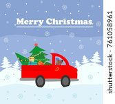 merry christmas card. red a... | Shutterstock .eps vector #761058961