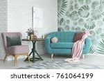 green table with a plant... | Shutterstock . vector #761064199