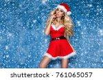 beautiful sexy blonde female... | Shutterstock . vector #761065057