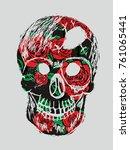 hand drawing skull graphic... | Shutterstock .eps vector #761065441