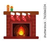 home fireplace  decorated with... | Shutterstock .eps vector #761066224