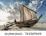 dhow on beach in stone town ... | Shutterstock . vector #761069644