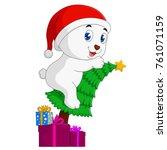 christmas bear cartoon | Shutterstock .eps vector #761071159