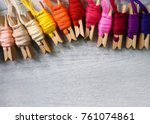 colorful thread on wood... | Shutterstock . vector #761074861