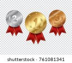 set of champion gold  silver... | Shutterstock .eps vector #761081341