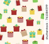 seamless texture with gifts on... | Shutterstock .eps vector #761084599