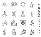 thin line icon set   eye  brain ... | Shutterstock .eps vector #761085211
