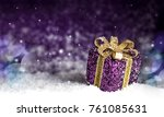 christmas purple shiny gift... | Shutterstock . vector #761085631