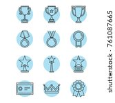 vector award icons set in... | Shutterstock .eps vector #761087665