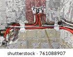new water plumbing in the wall... | Shutterstock . vector #761088907