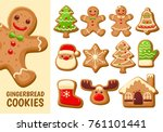 set of cute gingerbread cookies ... | Shutterstock .eps vector #761101441