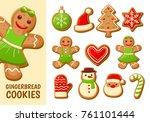 Set Of Cute Gingerbread Cookie...
