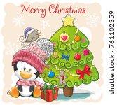 greeting card cute cartoon... | Shutterstock .eps vector #761102359