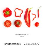 creative layout made of red... | Shutterstock . vector #761106277