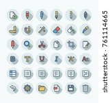 vector flat thin line icons set ... | Shutterstock .eps vector #761114665