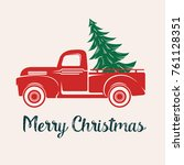 red car with a christmas tree | Shutterstock .eps vector #761128351