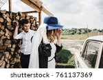 beautiful couple in love near a ... | Shutterstock . vector #761137369
