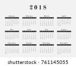 Calendar For Year 2018 Vector...