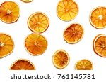 a lot of dried sliced orange | Shutterstock . vector #761145781
