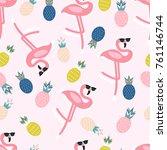 summer pattern. flamingo ...   Shutterstock .eps vector #761146744
