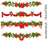 christmas garland with... | Shutterstock .eps vector #761147401