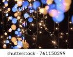 fairy lights on black background | Shutterstock . vector #761150299