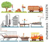 juice production process stages ... | Shutterstock .eps vector #761153374