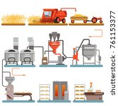 bread production process stages ... | Shutterstock .eps vector #761153377