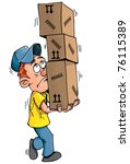 Cartoon Delivery Man Carrying A ...