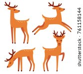 Cute Deer With Antlers  Vector...