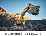 production of coal in the coal... | Shutterstock . vector #761161249