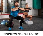 fitness trainer and girls doing ... | Shutterstock . vector #761172205