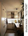white modern kitchen for tiny... | Shutterstock . vector #761174587